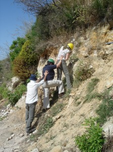 Taking samples for Optically Stimulated Luminescence Dating at Contrada Frategiani, Sicily. I'm top, ably supported by Dr Kirsty Penkman and Gianni Insacco. Photo (c) Dr David Richards