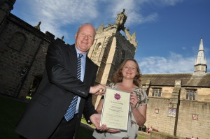 Receiving my award certificate on a gorgeous day at the very beautiful Univeristy of Aberdeen! Photo (c) British Science Association.