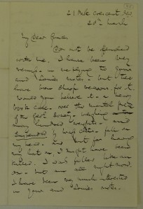 HF survives an incident at the Geological Society, thanks to his hat. Letter to his niece Grace.