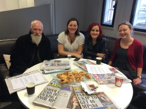 No one wants to eat the Saturday Live pastries… From left to right: John Carder Bush, Rebecca Root, Carrie Grant, and me.