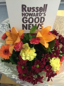 Flowers, crisps, chocolates and pizza to order in the Russell Howard's Good News dressing room!